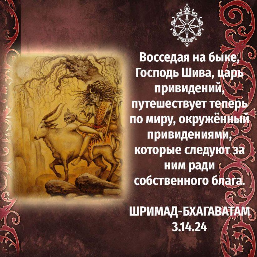 Восседая на быке, Господь Шива, царь привидений, путешествует теперь по миру, окружённый привидениями, которые следуют за ним ради собственного блага.